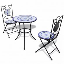 Mozaik bisztró kerti étkezőgarnitúra - kék