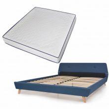 VID Kárpitozott ágy ágyráccsal, memóriahabos matraccal, 180x200 cm, kék színben