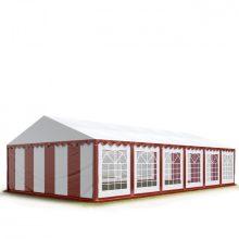 TP Professional deluxe 6x12m nehéz acélkonstrukciós rendezvénysátor erősített tetőszerkezettel piros-fehér
