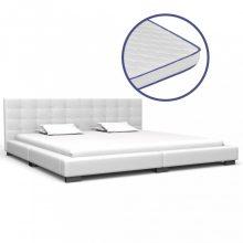 VID fehér műbőr ágy memóriahabos matraccal 180x200 cm