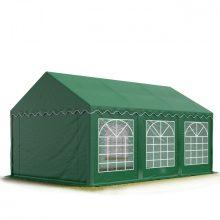 TP Professional deluxe 4x6m nehéz acélkonstrukciós rendezvénysátor erősített tetőszerkezettel zöld