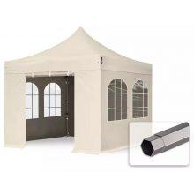 Professional összecsukható sátrak PREMIUM 350g/m2 ponyvával, acélszerkezettel, 4 oldalfallal, hagyományos ablakkal - 3x3m bézs