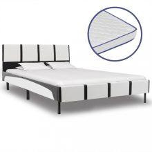 VID fehér és fekete műbőr ágy memóriahabos matraccal 140x200 cm