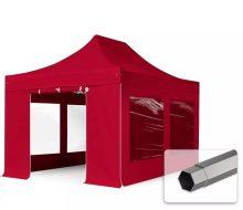 Professional összecsukható sátrak PREMIUM 350g/m2 ponyvával, acélszerkezettel, 4 oldalfallal, panoráma ablakkal - 3x4,5m bordó