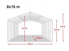 Vario raktársátor 8x16m - 4m oldalmagassággal-bejárat típusa: felhúzható