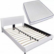 """VID PU bőr ágy 140x200 cm """"V15"""" memóriahabos matraccal, LED világítással, fehér színben"""