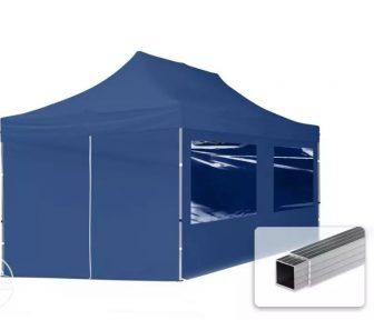 Professional összecsukható sátrak ECO 300 g/m2 ponyvával, alumínium szerkezettel, 4 oldalfallal - 3x6m sötétkék