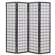 VID 4 paneles, fekete, japán stílusú paraván 160 x 170 cm