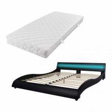 """VID PU bőr ágy 180x200 cm """"V20"""" matraccal, LED világítással, fekete színben"""