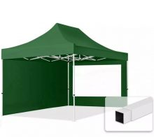 Professional összecsukható sátrak ECO 300g/m2 ponyvával, acélszerkezettel, 2 oldalfallal, panoráma ablakkal - 3x4,5m zöld
