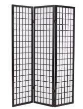VID 3 paneles, fekete, japán stílusú paraván 120 x 170 cm