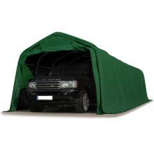 Ponyvagarázs/ sátorgarázs / tároló 3,3x9,6m -PVC 550g/nm zöld színben viharvédelmi szettel földhöz
