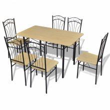 Világosbarna étkezőgarnitúra 1 db asztallal és 6 db székkel