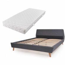 VID Kárpitozott ágy ágyráccsal, matraccal, 140x200 cm, sötétszürke színben 804536