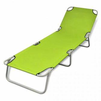 VID Összecsukható napozóágy állítható háttámlával - zöld