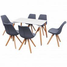 VID 7 darabos retro étkező szett - világosszürke székekkel