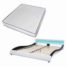 """PU bőr ágy 180x200 cm """"V20"""" memóriahabos matraccal, LED világítással, fehér-fekete színben"""