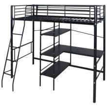 VID Gyerek fém emeletes ágy 90x200 cm fekete színben