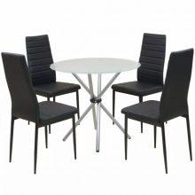 VID 5 darabos étkező garnitúra készlet kerek asztallal fehér-fekete színben