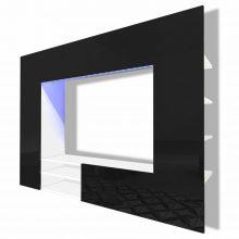 VID Magas fényű TV szekrény, fekete színben