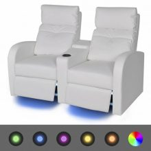 """VID Kétszemélyes dönthető kanapé, LED fénnyel  """"V2"""" fehér"""