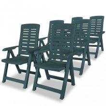 VID 6 db zöld dönthető műanyag kerti szék