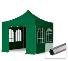 Professional összecsukható sátrak PREMIUM 350g/m2 ponyvával, acélszerkezettel, 4 oldalfallal, hagyományos ablakkal - 3x3m zöld