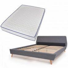VID Kárpitozott ágy ágyráccsal, memóriahabos matraccal, 140x200 cm, világosszürke színben