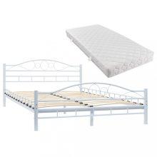 VID hullámmintás fehér fémkeretes ágy matraccal 140x200 cm