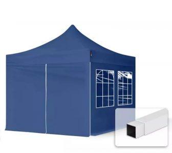 Professional összecsukható sátrak ECO 300g/m2 ponyvával, acélszerkezettel, 4 oldalfallal - 3x3m kék