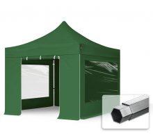 Professional összecsukható sátrak PROFESSIONAL 400g/m2 ponyvával, alumínium szerkezettel, 4 oldalfallal, panoráma ablakkal -  3x3m zöld