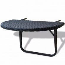 Polyrattan terasz asztal fekete