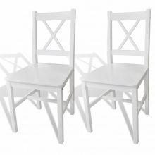 2 db-os fehér fa étkezőszék szett fehér színben