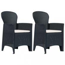 VID Antracit rattan hatású műanyag kerti szék párnával