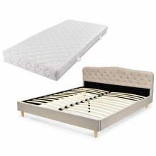 VID Kárpitozott ágy ágyráccsal, matraccal, 180x200 cm, bézs színben