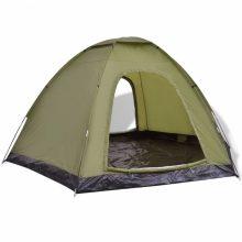 6 személyes kemping sátor zöld színben
