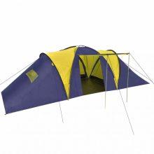 Poliészter kemping sátor 9 személyes sárga-sötétkék színben