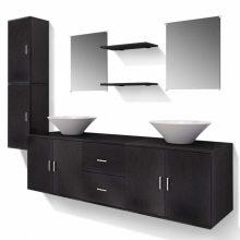 9 részes variálható fürdőszoba bútor szett fekete színben