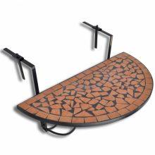 Mozaik erkélyi félköríves asztal terrakotta és fekete