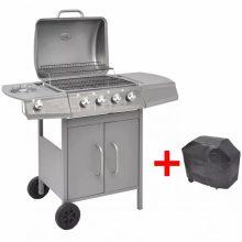 Gáz grillsütő 4 + 1 gázrózsával, ajándék takaróponyva, ezüst színben