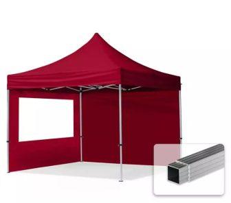 Professional összecsukható sátrak ECO 300 g/m2 ponyvával, alumínium szerkezettel, 2 oldalfallal - 3x3m bordó