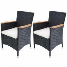 2 db fekete Polyrattan kerti szék szett