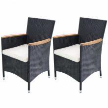 VID 2 db fekete Polyrattan kerti szék szett