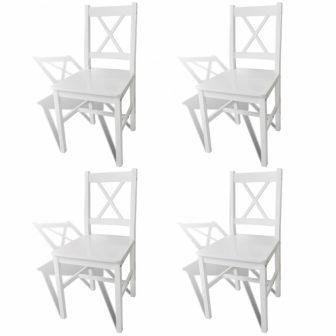 VID 4 db-os fa étkezőszék szett fehér színben