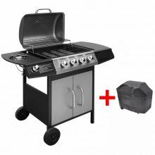 Gáz grillsütő 4 + 1 gázrózsával, ajándék takaróponyva, ezüst-fekete színben