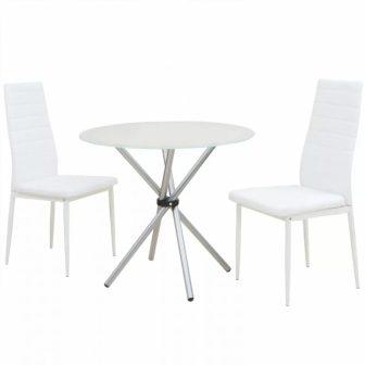 VID Étkező garnitúra készlet 2 székkel, 1 üvegasztallal fehér színben