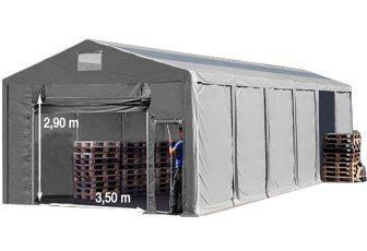 Vario raktársátor 8x12m - 3m oldalmagassággal, tetőablakkal-bejárat típusa: felhúzható