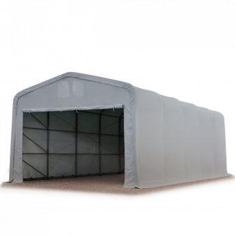 Ponyvagarázs/ sátorgarázs / tároló 5x10m-2,7m oldalmagasság, PVC 550g/nm kapuméret: 4,1x2,5m szürke színben