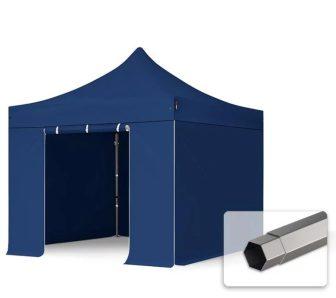 Professional összecsukható sátrak PREMIUM 350g/m2 ponyvával, acélszerkezettel, 4 oldalfallal, ablak nélkül - 3x3m sötétkék
