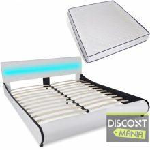 """PU bőr ágy 180x200 cm """"V11"""" memóriahabos matraccal, LED világítással, fehér színben"""